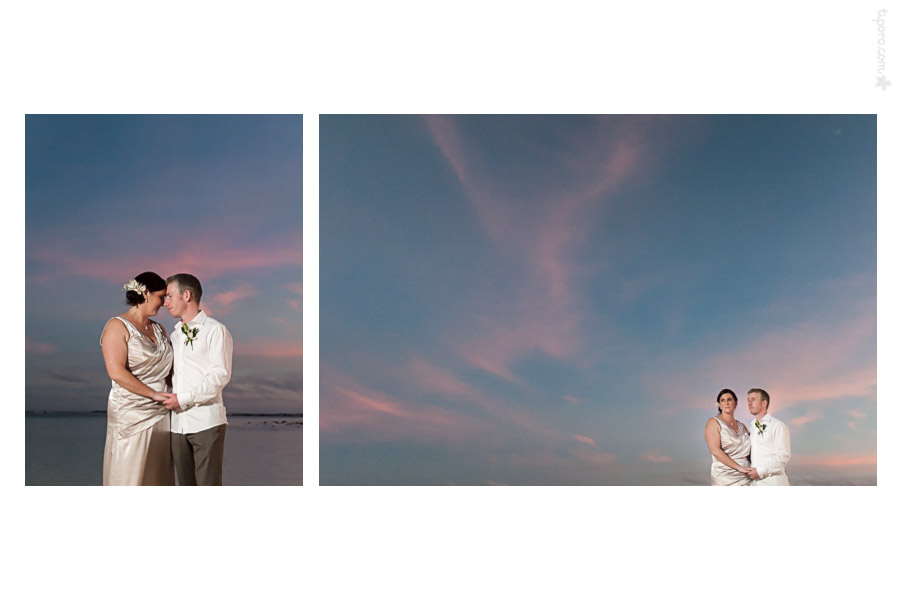Day's End. sunset, romantic photos, Rarotonga, beach wedding