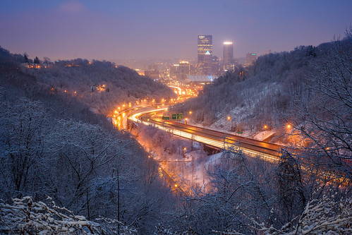 longexposure winter snow sunrise canon pittsburgh traffic pennsylvania pa lighttrails