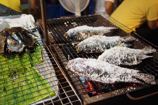 salt baked fish, Talad Rot Fai, Bangkok, Thailand