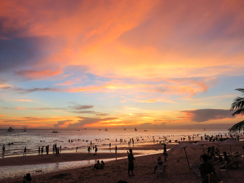 Boracay white beach sunset