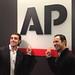 Dario Franchitti and Helio Castroneves at the Associated Press offices