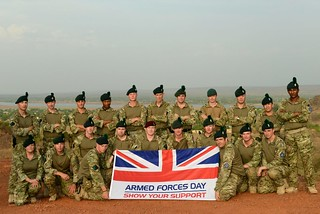 European Union Training Mission with the Armed Forces Day Flag in Mali
