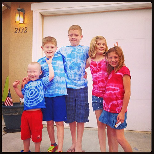Patriotic cousins in their tie dyed t-shirts. #summer2013 #fourthofjuly