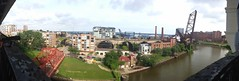 Panorama view of the Flats from Cleveland Veterans Memorial Bridge Viaduct
