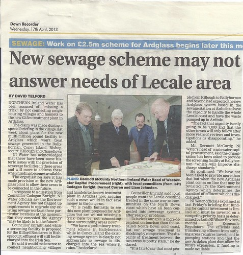 17th April 2013 NI Water fails Lecale Coast Tourism by CadoganEnright