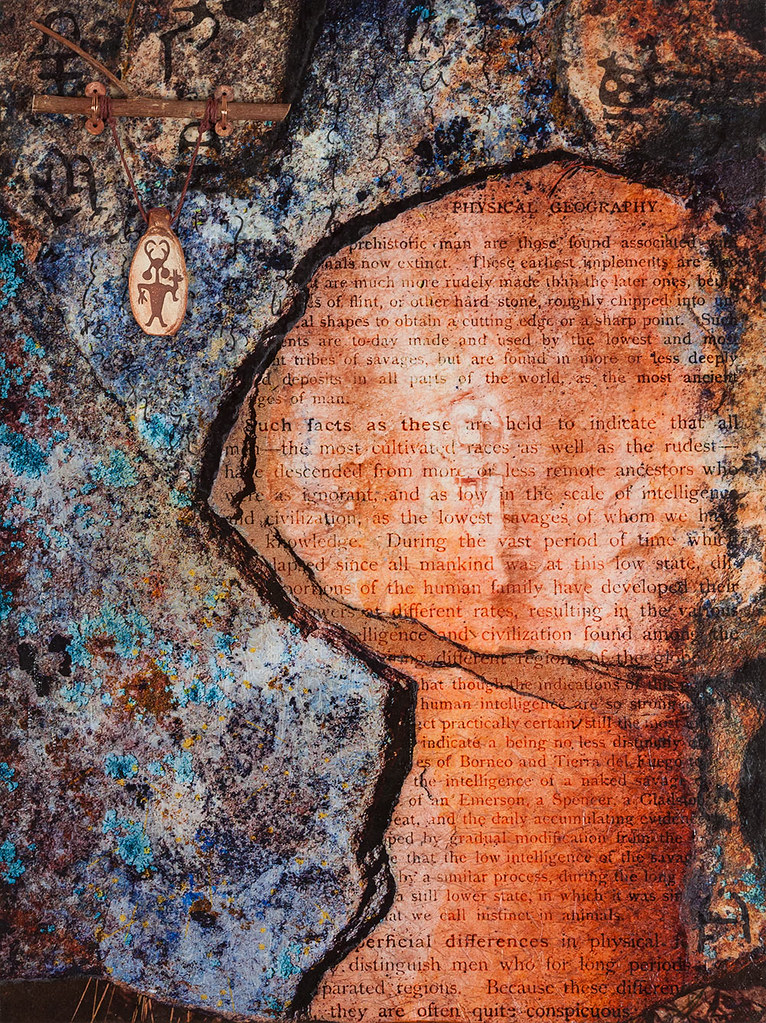 16 x 12 mixed media inspired by rock in Escalante Petrified Forest available - $275