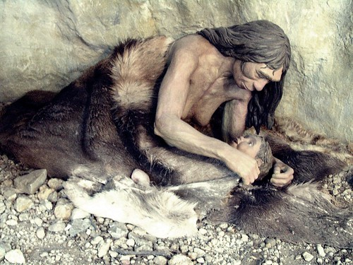 Neanderthal Mother (detail of diorama)