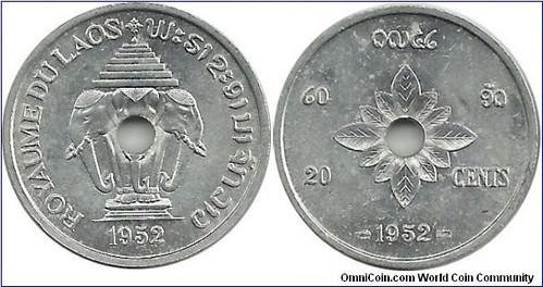1952 Laos 20 cent