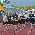 hmc011 -- The ROTC unit from Illinois State University ran in formation in the Beaupre 5K Run.