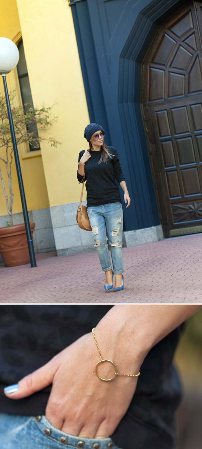 street style barbara crespo soft print cardigan beanie outfit fashion blogger