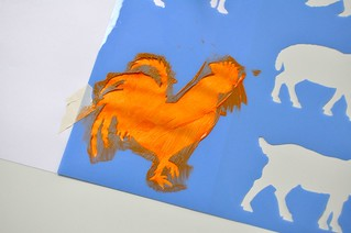 Farm Animals Stencil Painting