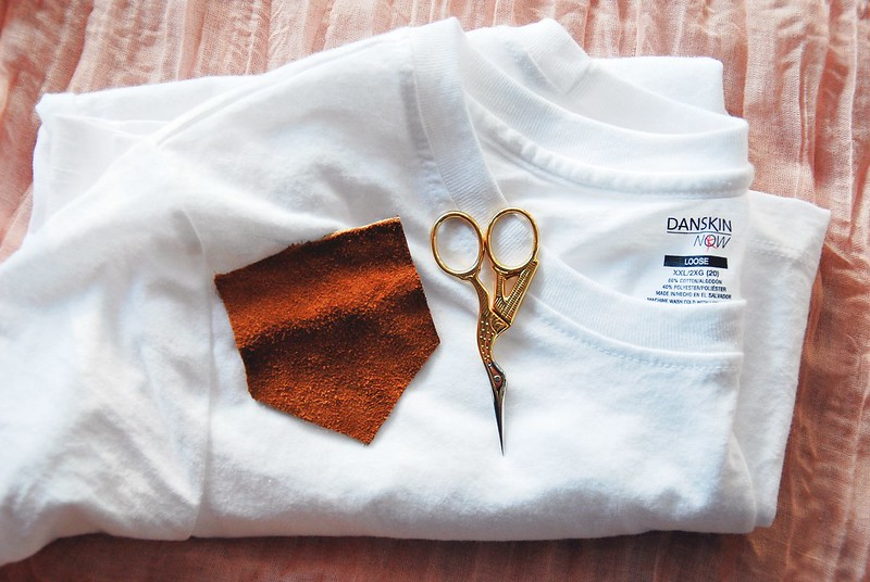 DIY leather pocket tee