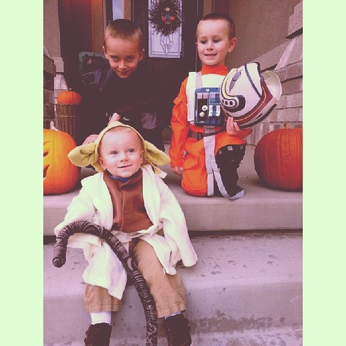 The force is strong at our house. Anakin,  luke as an x-wing pilot,  and yoda. #Halloween #starwars