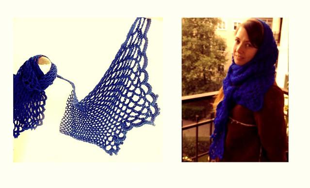 bufanda capucha azul