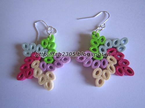 Handmade Jewelry - Paper Quilling Star Earrings by fah2305