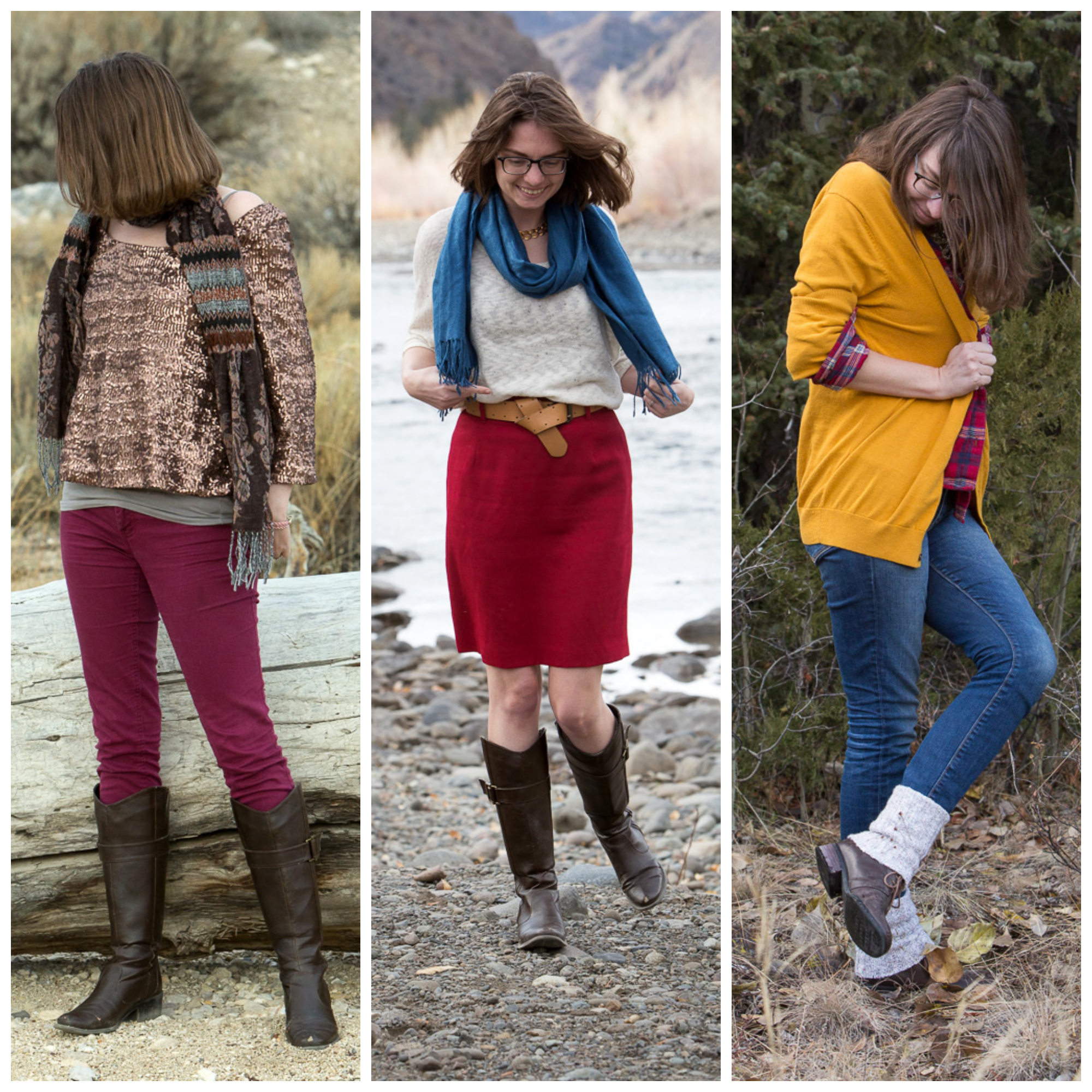 glitter-shirt, scarf, red-pencil-skirt, plaid, yellow-cardi,wyoming, outdoors, never-fully-dressed-without-a-style,