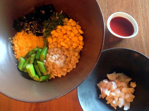 Bibim: rice & pearl barley, gochujang, corn, crab, cured egg & nori