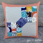 scrappy but classy block pillow front