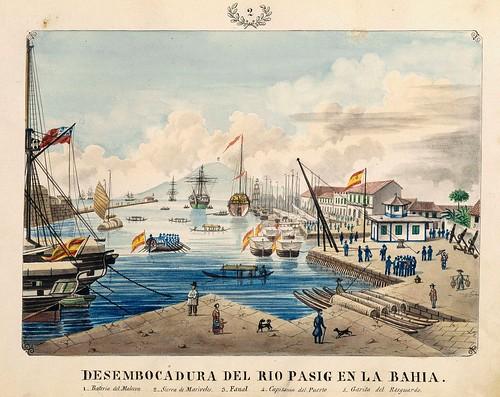 002-DESEMBOCADURA DEL RIO PASIG EN LA BAHIA-Vistas de las Yslas Filipins y Trages…1847-J.H. Lozano- Biblioteca Digital Hispánica