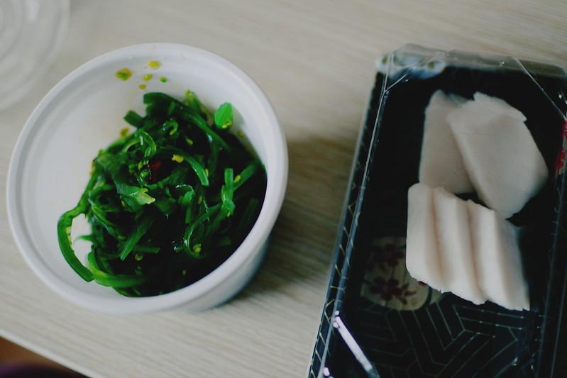 Wakame & white tuna sashimi