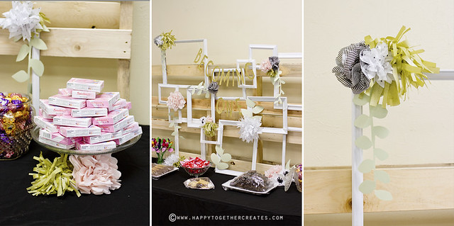 Tissue Paper Flowers and Frames Food Table Back Drop