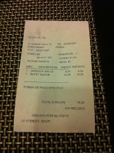 Alicante | Ming Cocina Asiática | La cuenta
