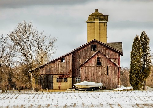 winter usa snow wisconsin architecture barn landscape boat nikon midwest farm farmland silo weathered redbarn 2013 55300mm d5100 snapseed uploaded:by=flickrmobile flickriosapp:filter=nofilter