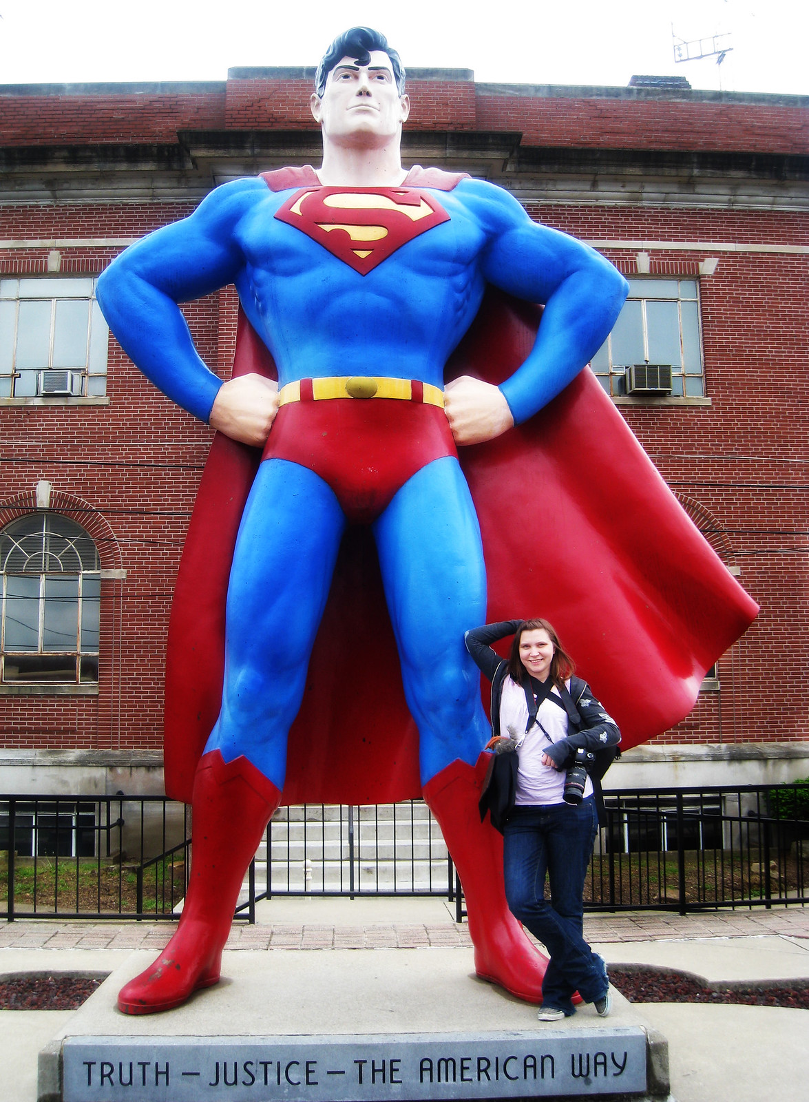 Val with the Giant Superman statue, a roadside attraction in Metropolis, Illinois.
