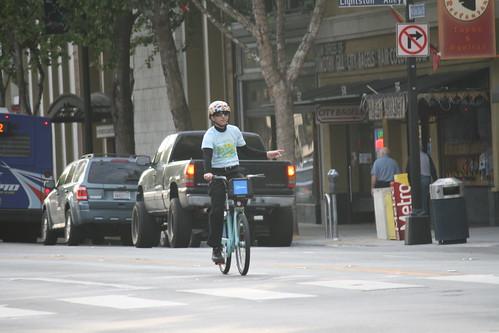 John Brazil on a Bike Share Bike