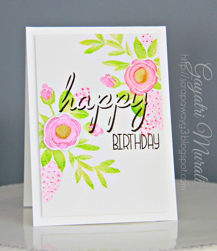 happy B'day Watercolour card