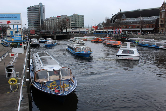Canal boats in front of Central Station