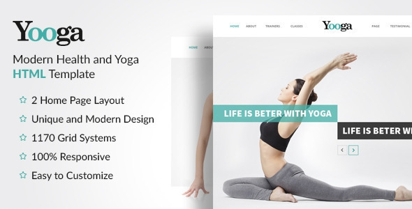Yooga v1.0.0 - Modern Health and Yoga HTML Template