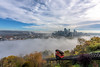 The Duquesne Incline rises above the fog in Pittsburgh