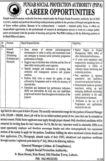 Punjab Social Protection Authority General Manager Required