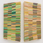 Jen Pack - Green Yellow Diptych; Chiffon, moshi fabric and thread on wood; 2008; 33 x 14