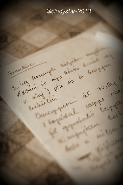 hand-written hungarian recipe