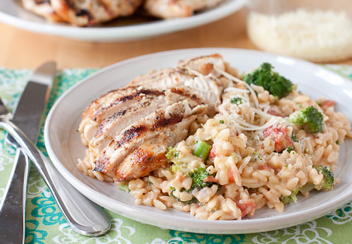 Herb Grilled Chicken with Creamy Broccoli Orzo