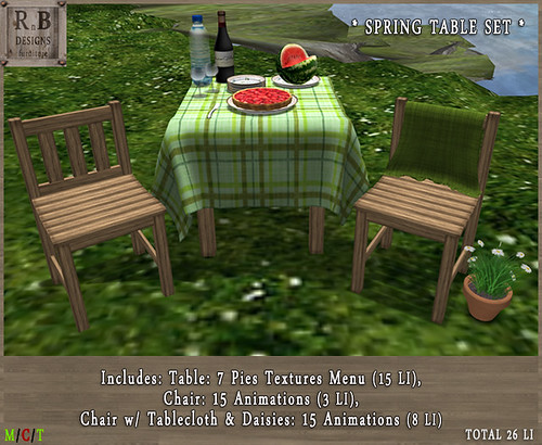 PROMO ! *RnB* Spring Table Set - 7 Pie Textures