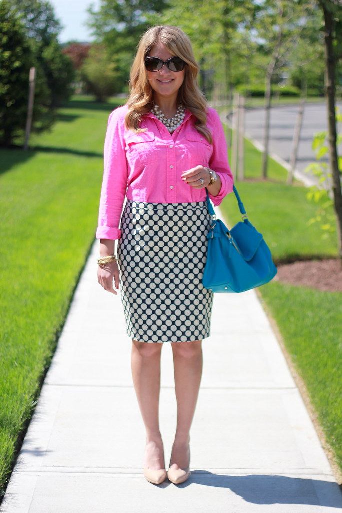 Pink top and Polka Dot Pencil Skirt Work Outfit