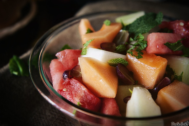 Fruit Salad with Honey Lime Syrup via PasstheSushi.com