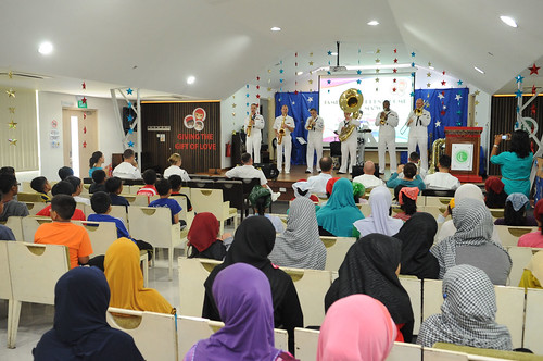 7th Fleet Band's Pacific Ambassadors perform for children at the Jamiyah Children's Home