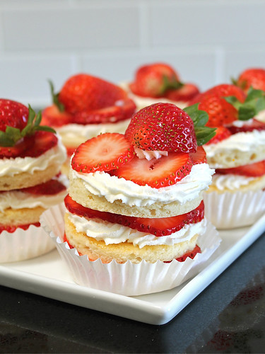 personal-size strawberry chiffon layer cakes