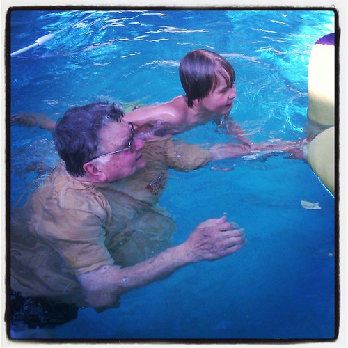 Asher swimming with Papa. This summer Asher can swim!!