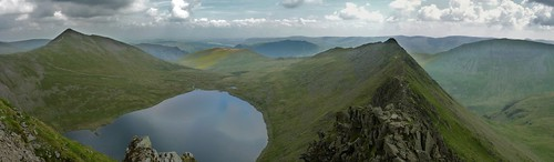 View over Red Tarn, Striding Edge and Ullswater in the background, from the summit of Helvellyn