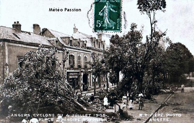 arbres renversés par les bourrasques de vent lors de l'orage du 4 juillet 1905 à Angers météopassion