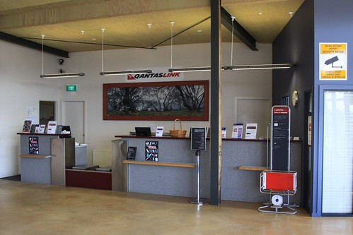 Check in counters at Arrivals door at Mount Hotham Airport