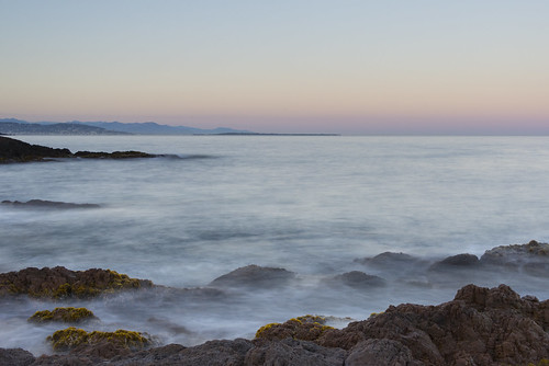 Long exposure sea over Lerins islands