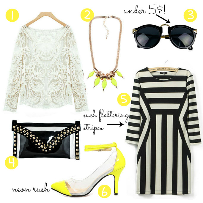 Ebay bargains, fashion blog, blogger, lace sweater, striped dress, neon transparent heels, ebay sunglasses, cheap clothes, under 5 $
