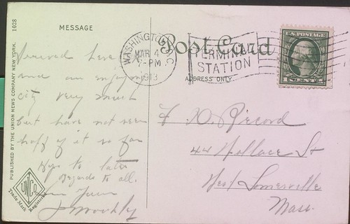 "Washington Union Station postcard, postmarked 1913, with ""Terminal Station"" indicia"