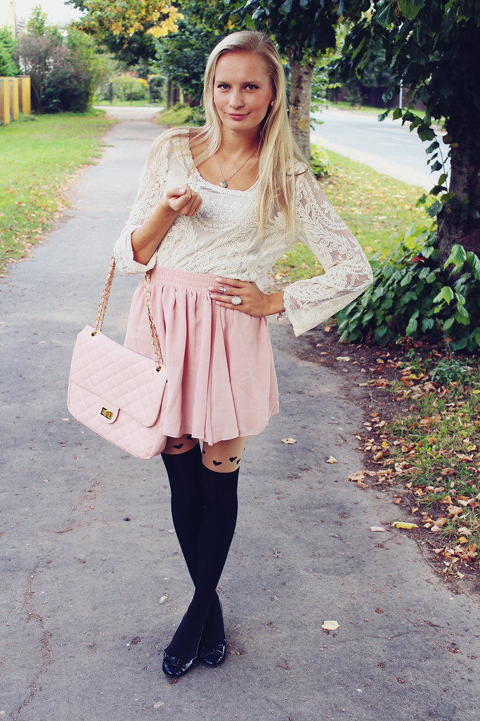 lace blouse, blonde girl wearing lace blouse, skater skirt, light pink skater skirt, heart tights, chicnova, foymall, H&M ballerinas, mid finger ring, romantic outfit for a date, lace and light pink